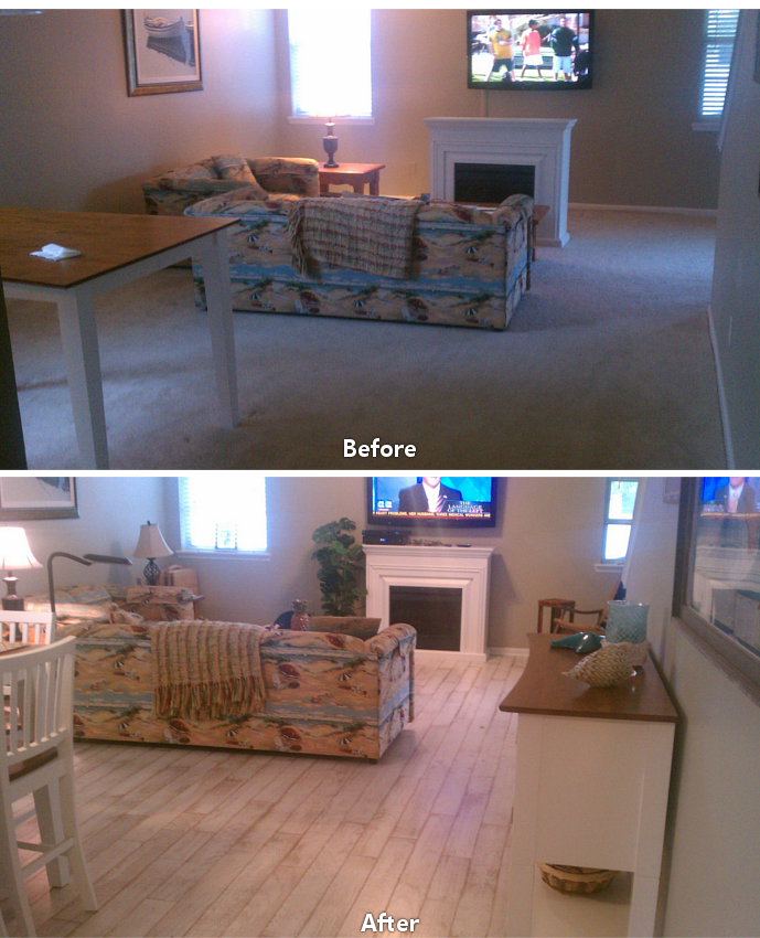 Before After Carpet To Hardwood Living Room 2
