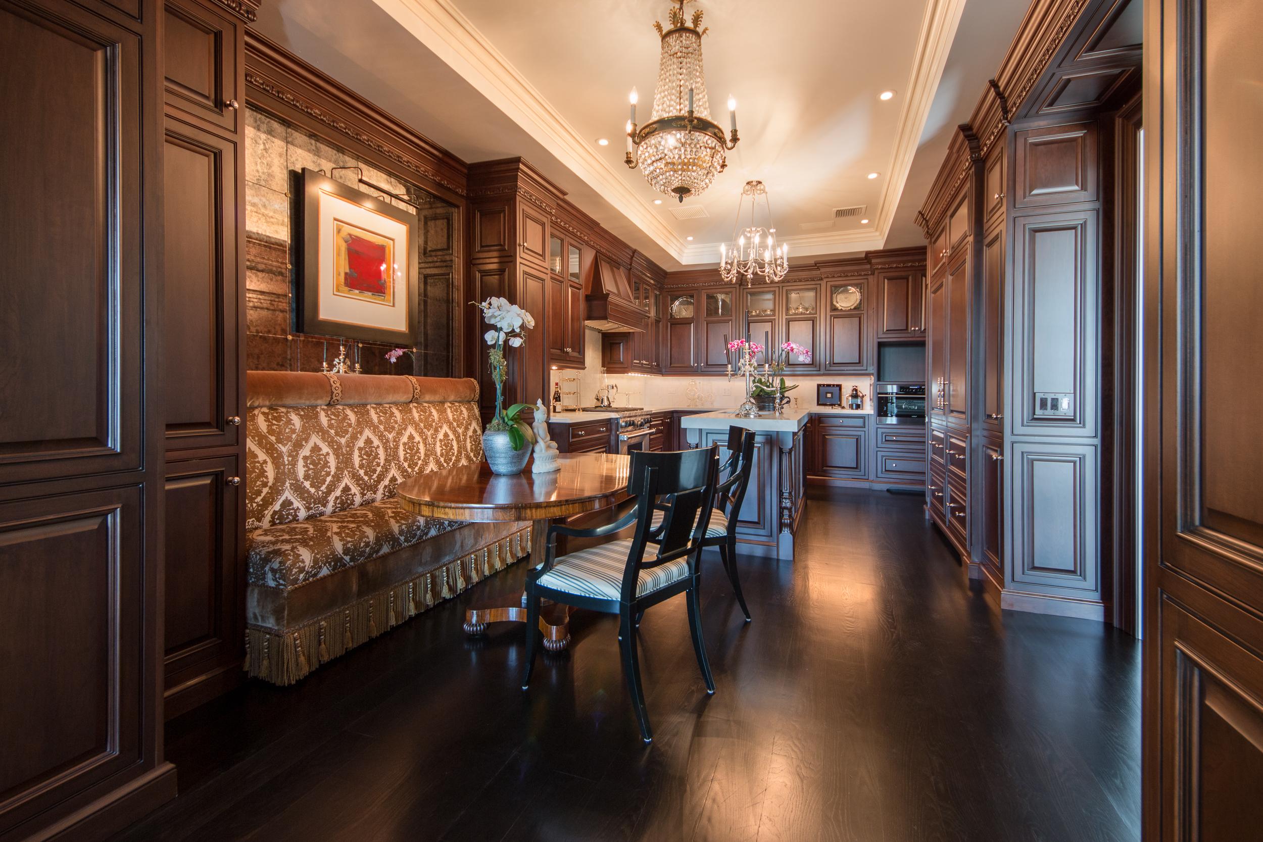 Custom Black Oak Flooring in Kitchen and Dinette