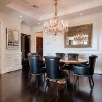 Custom Black Oak Flooring in dining room