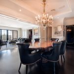 Custom Black Oak Flooring in Dining Room and Living Room