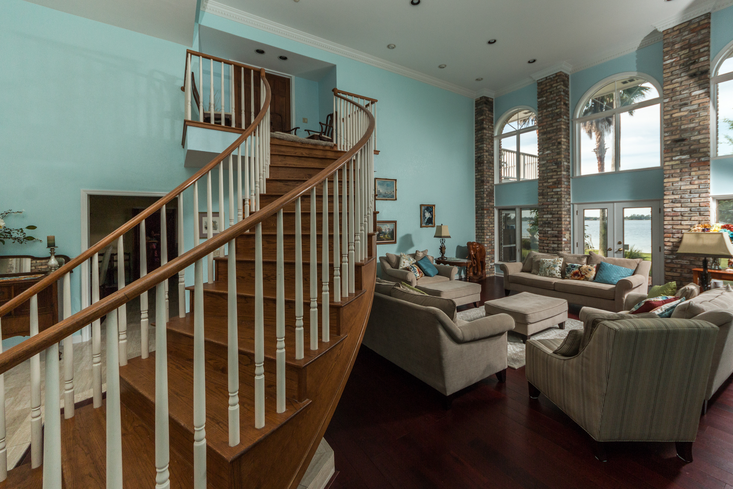 Brazilian Cherry Rouge Flooring in Living Room with Stairs