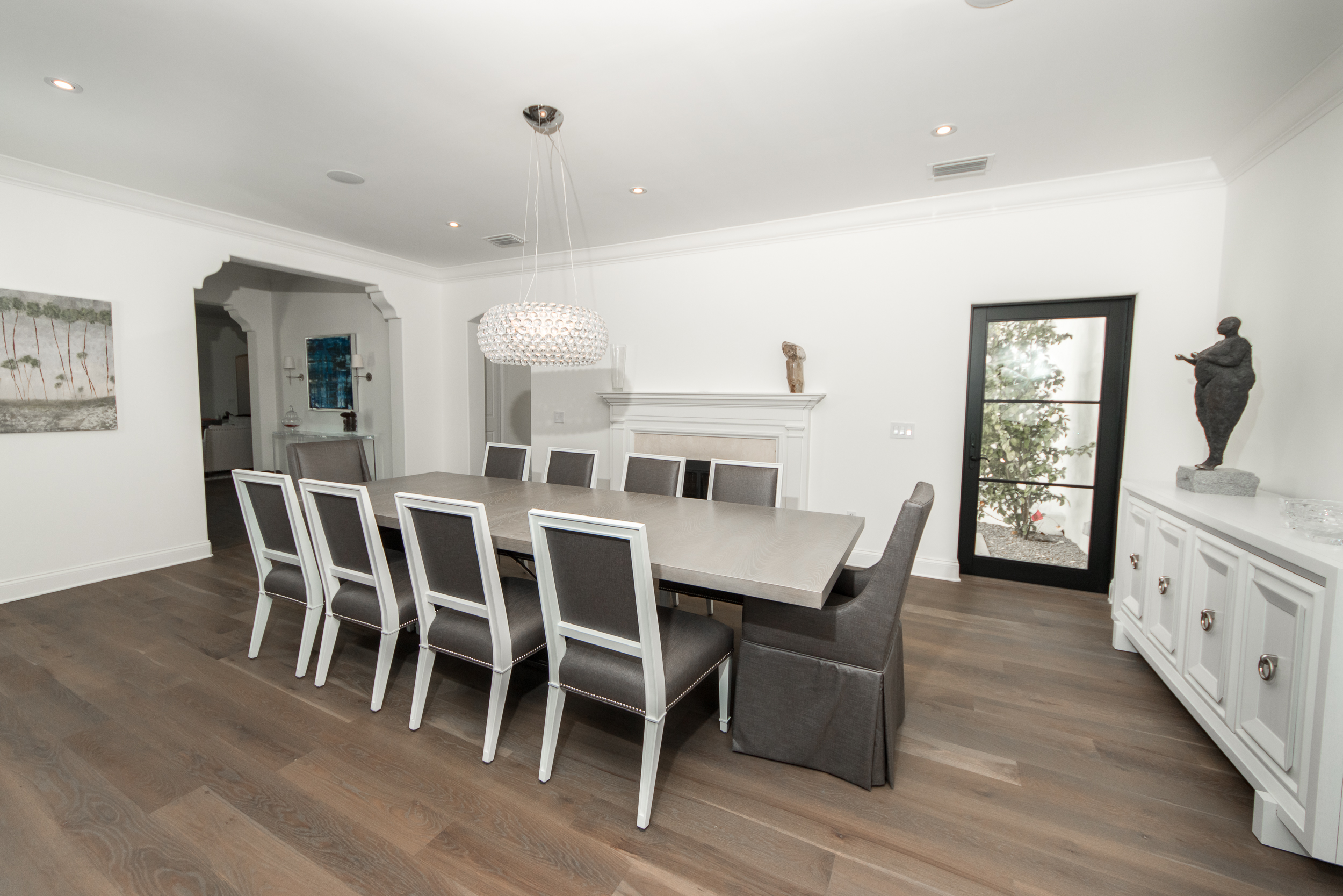 Custom Grey Oak Flooring In Dining Room