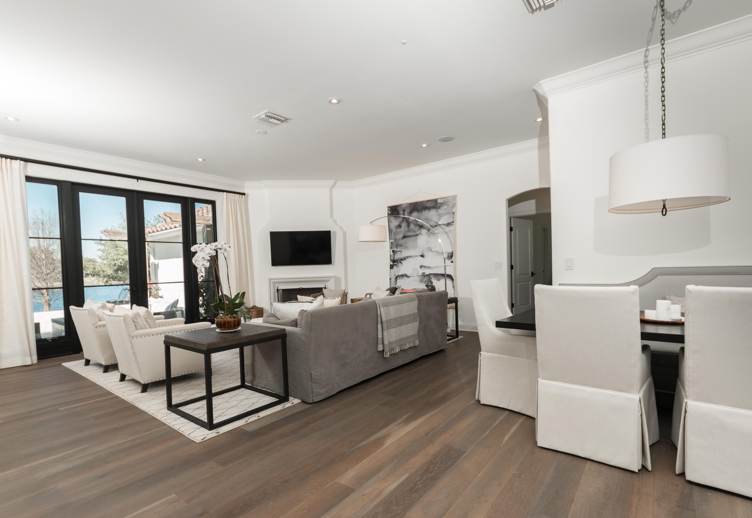 Custom Grey Oak Flooring In Living Room