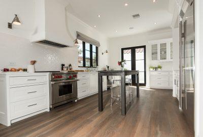Custom Grey Oak Flooring In Kitchen