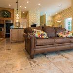 Copaiba Lava & Porcelain Flooring in Living Room