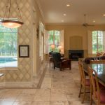 Copaiba Lava & Porcelain Flooring in Kitchen and Living Room