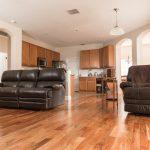 Brazilian Amendoim Wood Flooring in Living Room Overlooking Kitchen