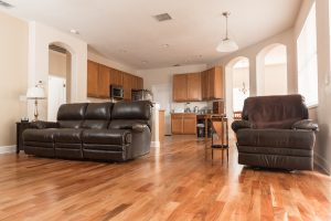 Brazilian Amendoim Wood Flooring in Living Room Overlooking Kitchen