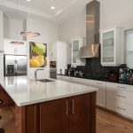 Wire-Brushed Natural Hickory Wood Flooring in Kitchen with Island