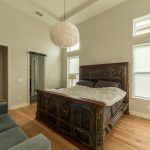 Wire-Brushed Natural Hickory Wood Flooring in Bedroom with Fluffy Light
