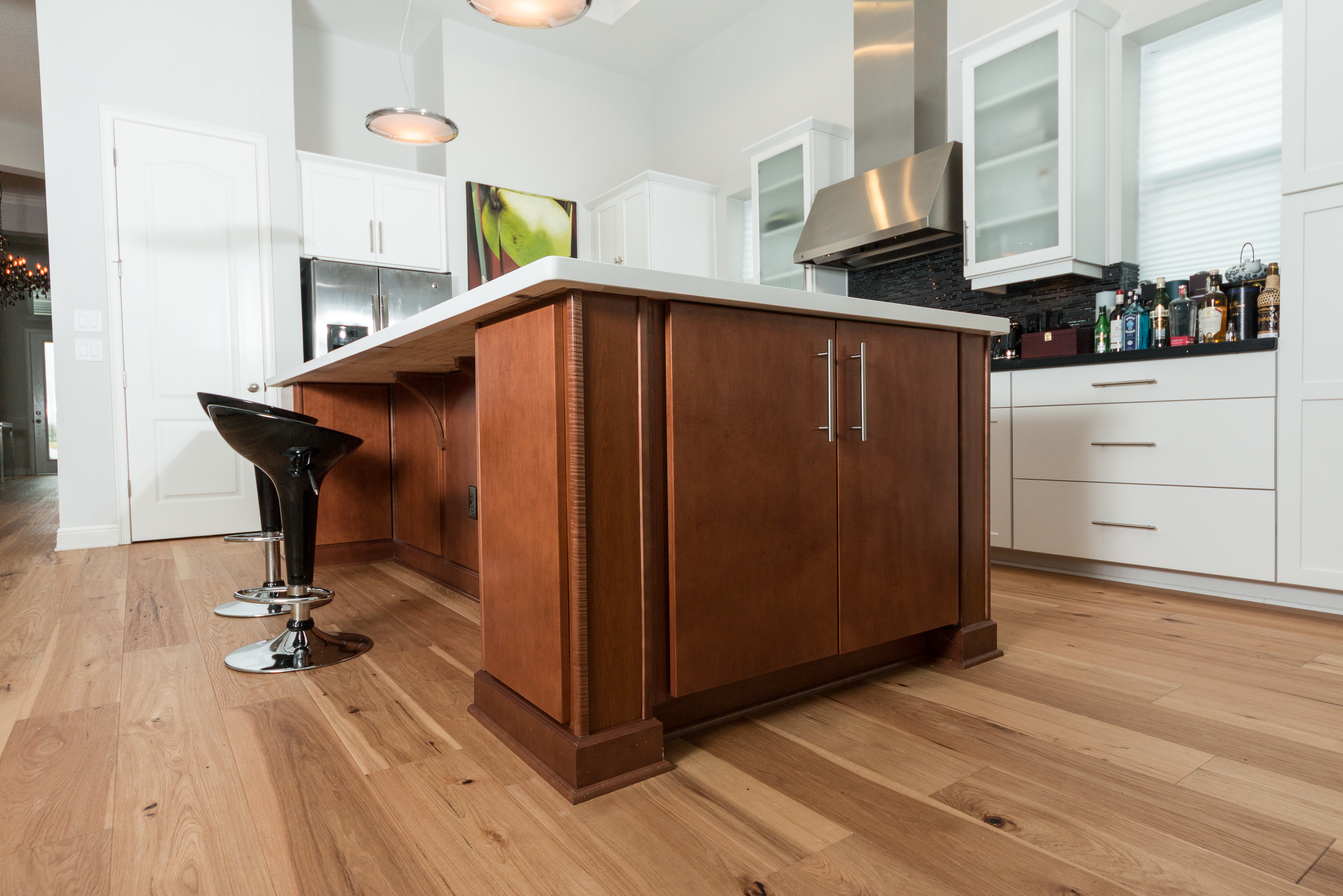 Wire-Brushed Natural Hickory Wood Flooring in Kitchen