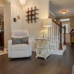 Mellow Oak Wood Flooring Stairway Entryway white chairs