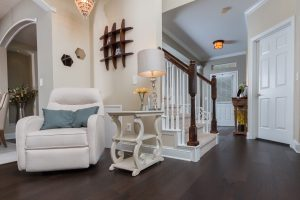 Mellow Oak Wood Flooring in Entryway with stairs