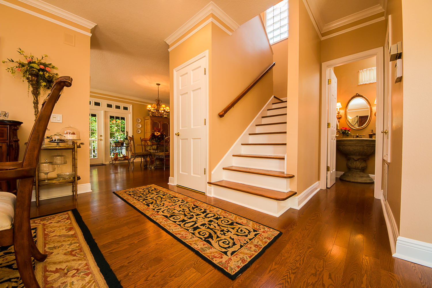 Mirage Sierra Oak Wood Flooring in Stairway with peach walls
