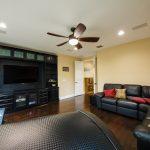 Spanish Hickory Blackhills Wood Flooring in Living Room Theatre