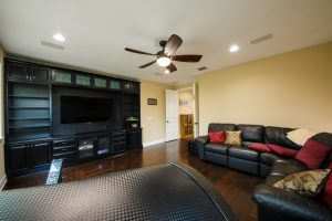 Spanish Hickory Blackhills Wood Flooring in Living Room Theatre