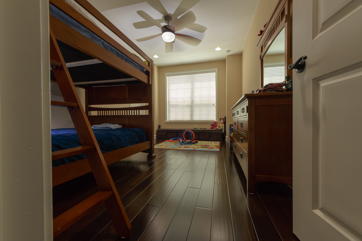 Spanish Hickory Blackhills Wood Flooring in Bedroom with bunkbeds