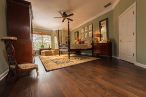 Brown Distressed Maple Wood Flooring in Bedroom