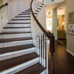 Brown Distressd Birch Wood Flooring in Stairway
