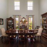 Brown Distressd Birch Wood Flooring in Dining Room