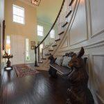 Brown Distressd Birch Wood Flooring in Entryway