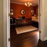 Brown Distressd Birch Wood Flooring in Office