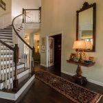 Brown Distressd Birch Wood Flooring in Stairway