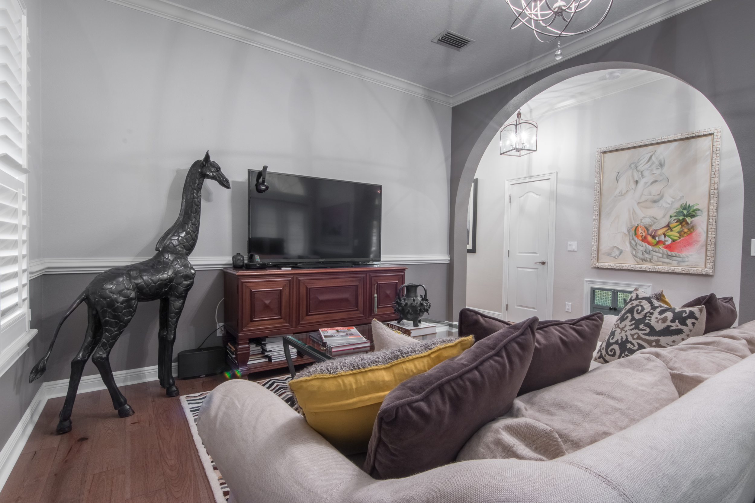 Wire-Brushed Brown Hickory flooring entertainment room