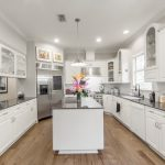 Wire-Brushed Brown Hickory flooring kitchen