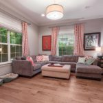 Wire-Brushed Brown Hickory flooring living room