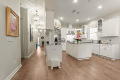 Wire-Brushed Brown Hickory flooring kitchen and hallway