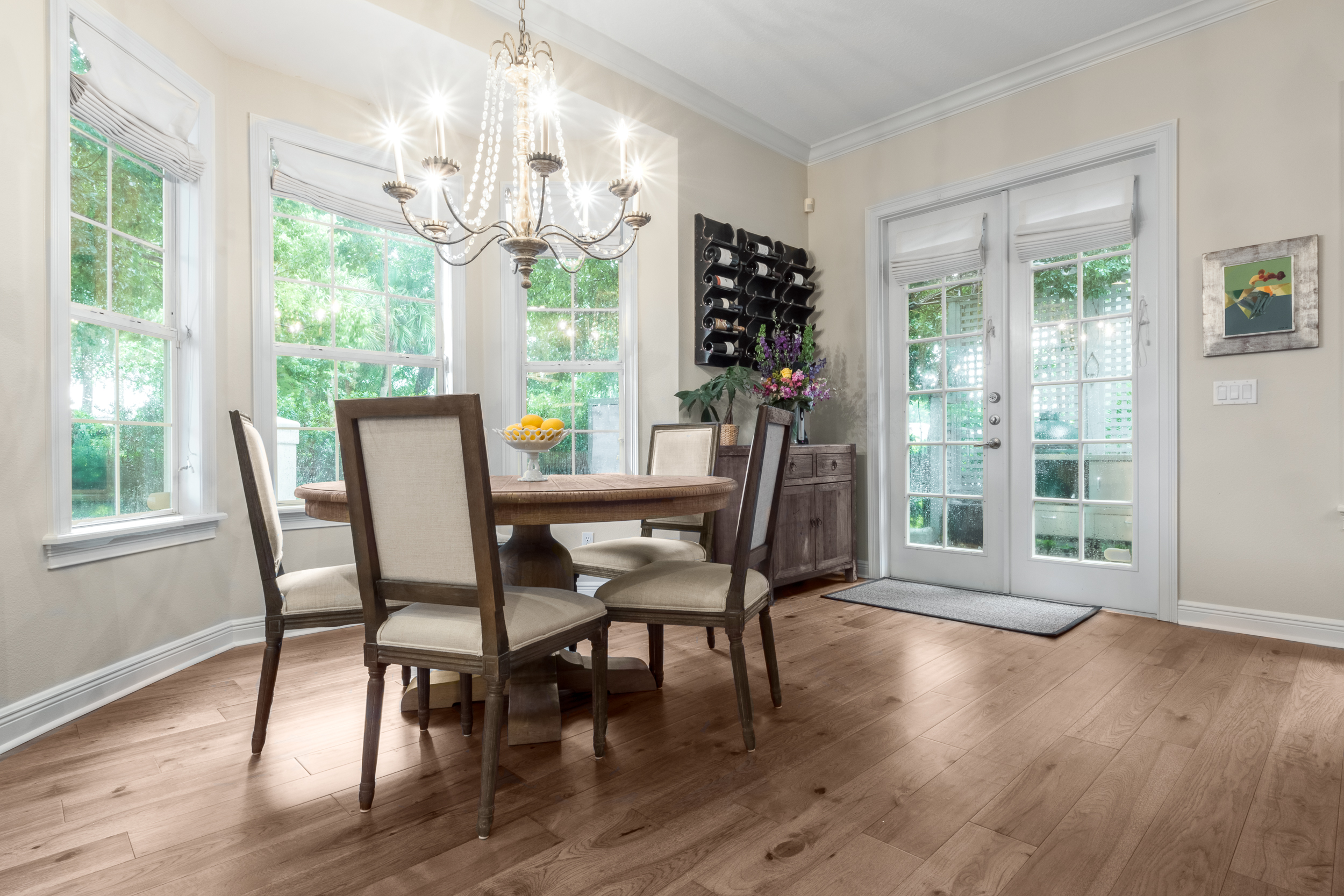 Wire-Brushed Brown Hickory flooring dining room