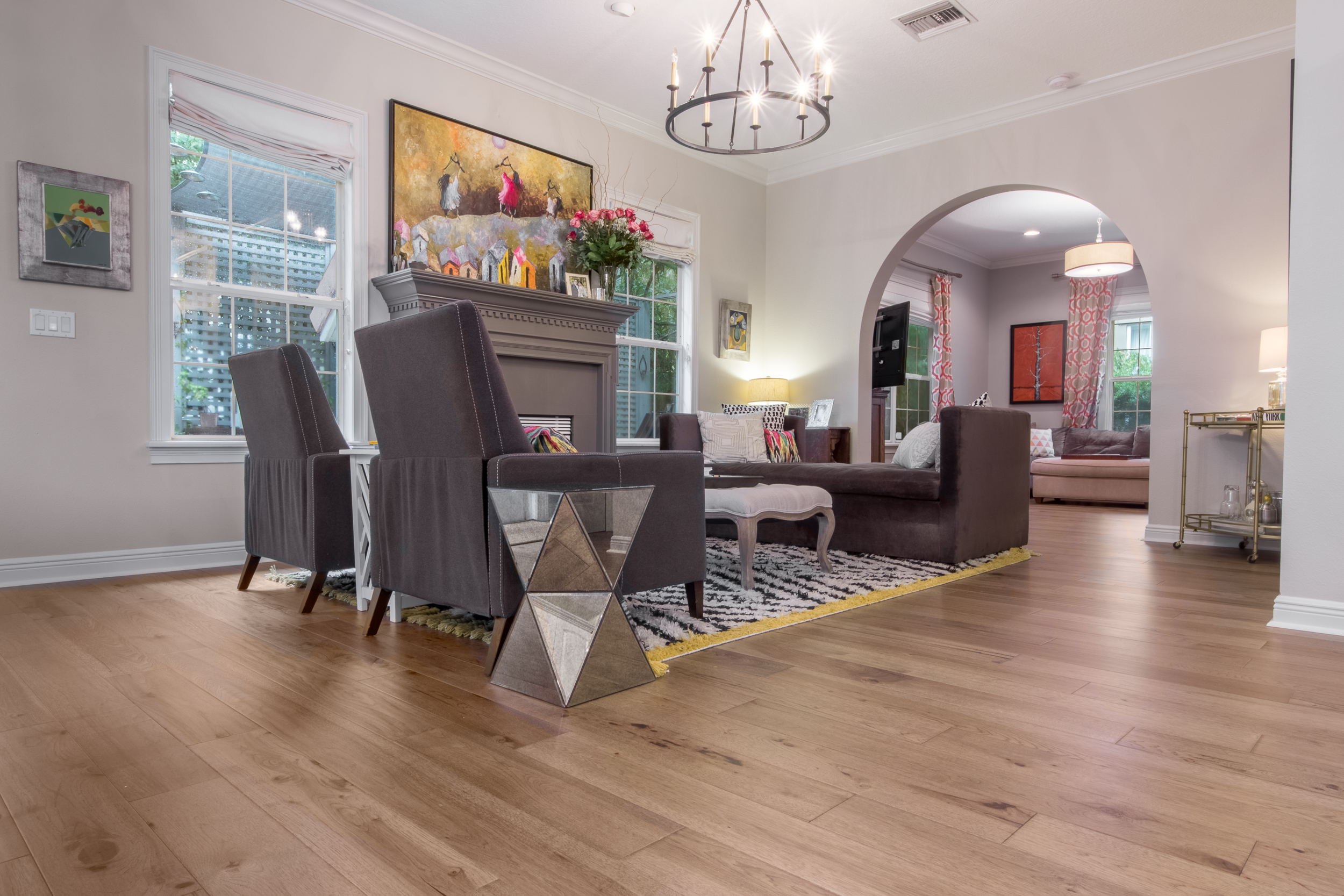 Wire-Brushed Brown Hickory flooring sitting room