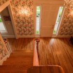 Gunstock Solid Oak flooring stairwell and entry