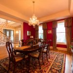 Gunstock Solid Oak flooring formal dining room and stairwell