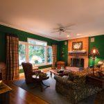 Gunstock Solid Oak flooring living room with fireplace