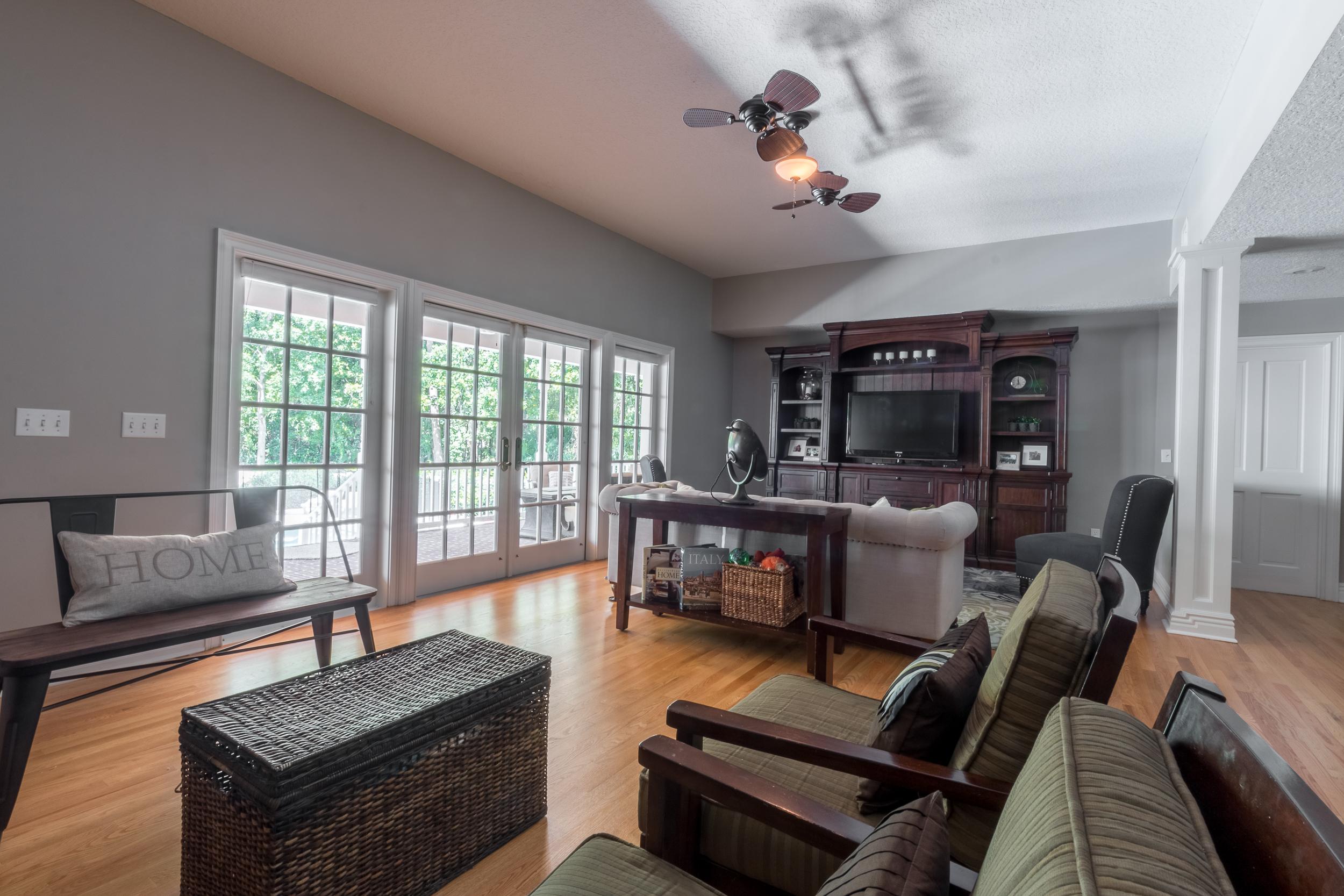 Natural Solid Oak flooring entertainment room
