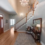 Natural Solid Oak flooring stairwell and landing side view