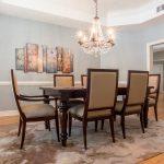 Natural Solid Oak flooring formal dining room