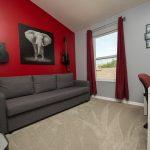 PVC Vinyl & Gray Carpet flooring in entertainment room