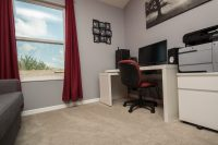 PVC Vinyl & Gray Carpet flooring with computer desk
