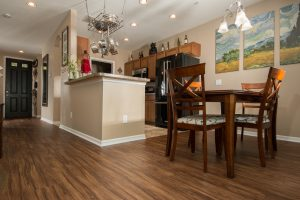 PVC Vinyl & Gray Carpet flooring kitchen and breakfast nook