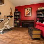 PVC Vinyl & Gray Carpet flooring piano room and workout area