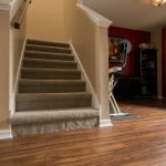 PVC Vinyl & Gray Carpet flooring stairwell and workout area