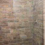 wood look porcelain in shower